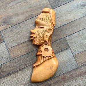 African hand-carved wood face profile wall hanging